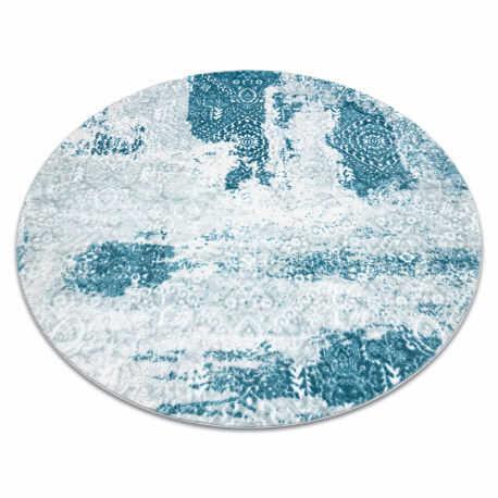 Dywan MEFE nowoczesny Koło 8731 Rozeta vintage przecierany - Strukturalny, dwa poziomy runa krem / niebieski koło 100 cm