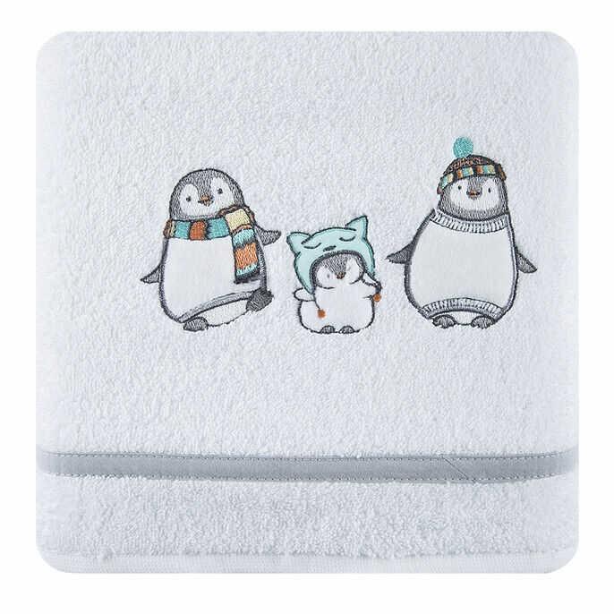 Ręcznik dziecięcy 50x90 Baby 12 pingwiny biało szare 450 g/m2 Eurofirany