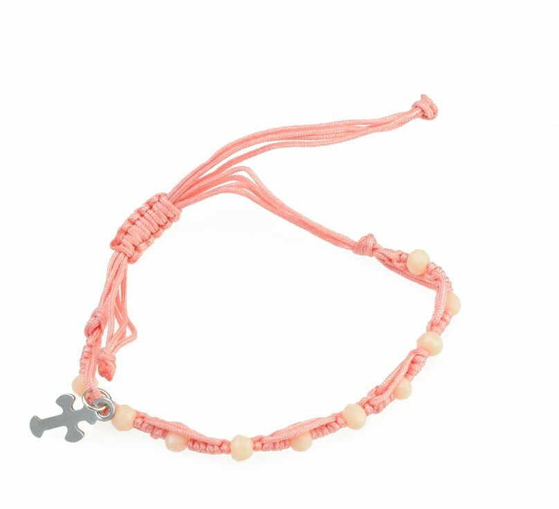 Dziesiątka różańca z różowych koralików