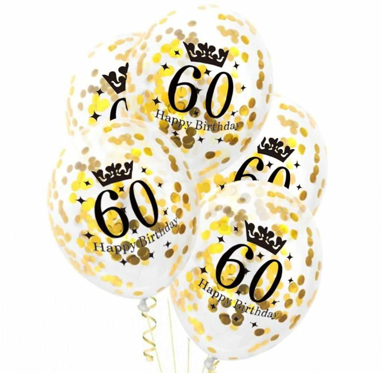 Balony przezroczyste ze złotym konfetti na sześćdziesiątkę - 30 cm - 5 szt