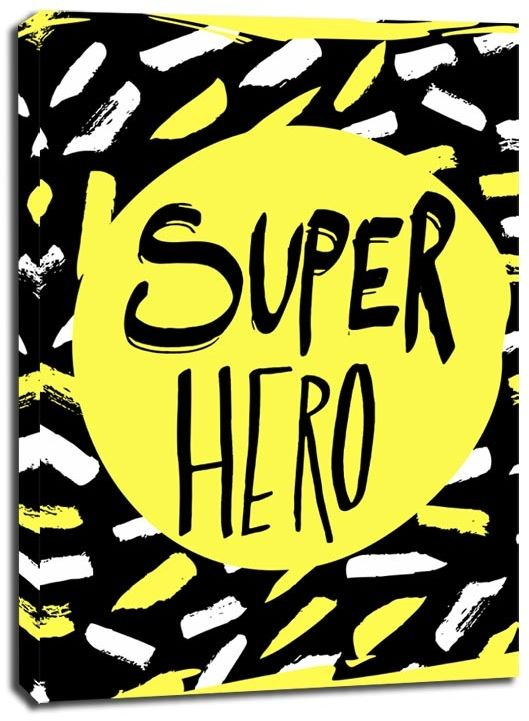 Super bohater na żółtym tle - obraz na płótnie wymiar do wyboru: 50x70 cm