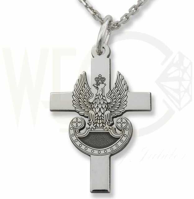 Krzyżyk orzeł wojskowy z łańcuszkiem ze srebra wzór KR-10-ZEST
