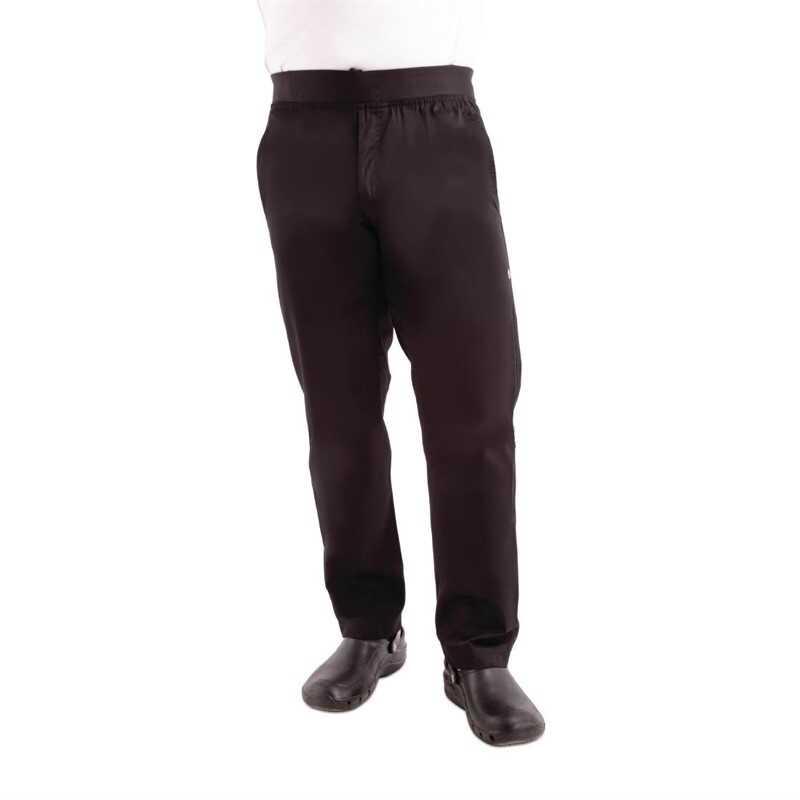 Spodnie kucharskie męskie slim czarne rozmiary XS-XL
