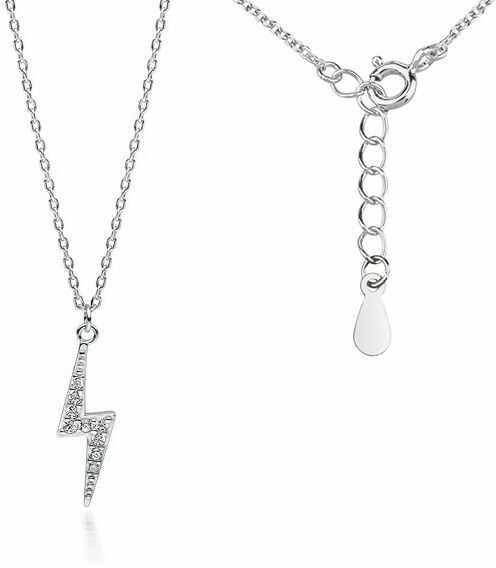 Delikatny rodowany srebrny naszyjnik gwiazd celebrytka piorun błyskawica cyrkonie srebro 925 Z1702N