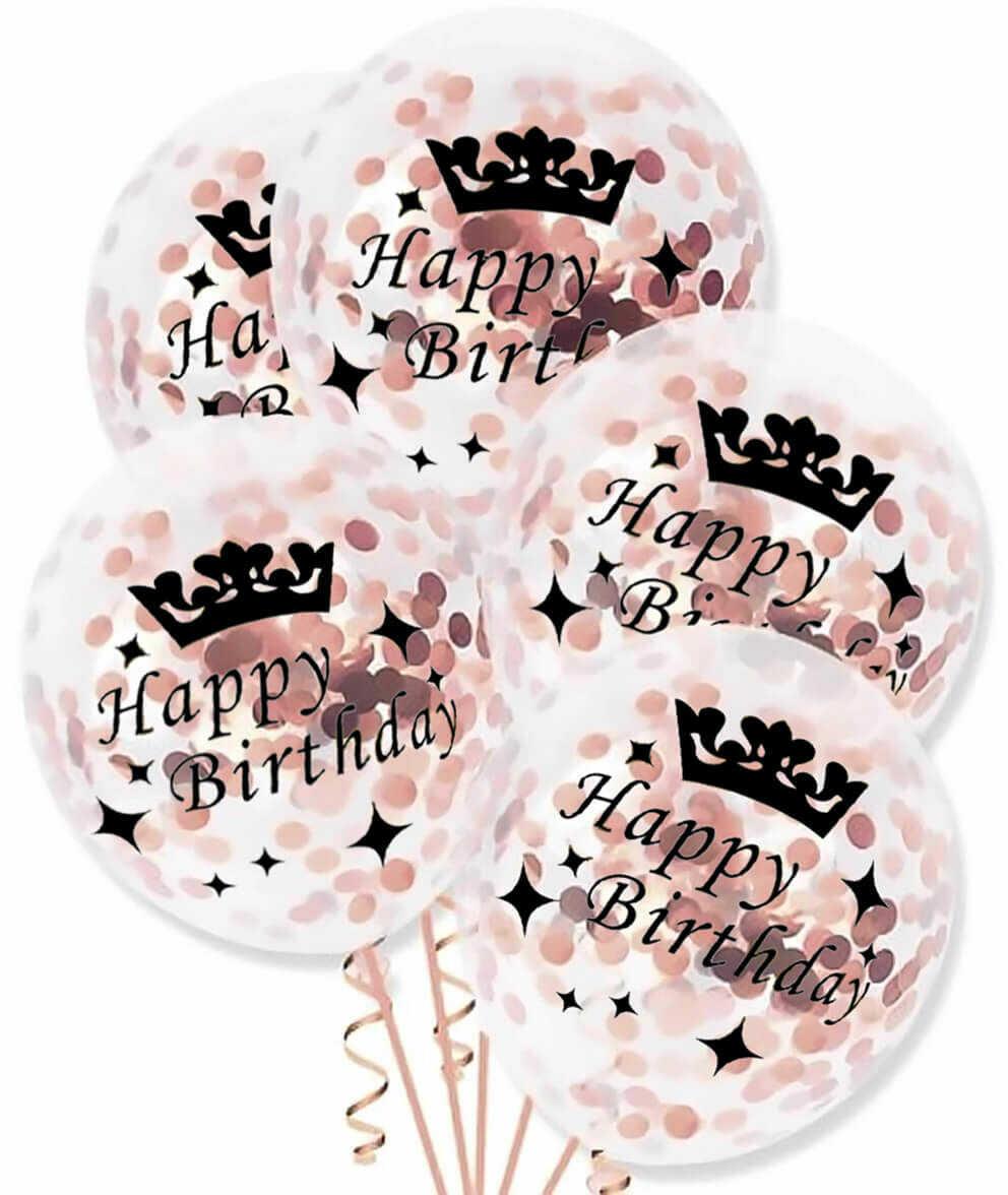 Balony przezroczyste z różowo złotym konfetti Happy Birthday - 30 cm - 5 szt