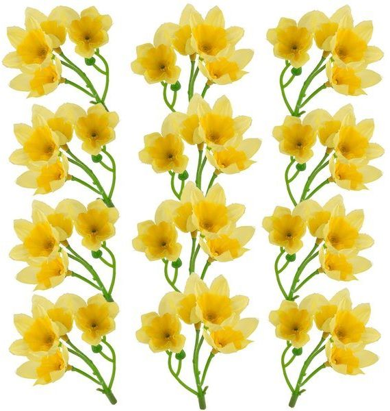 Sztuczne żonkile dekoracyjne żółte 10cm 12szt 610102