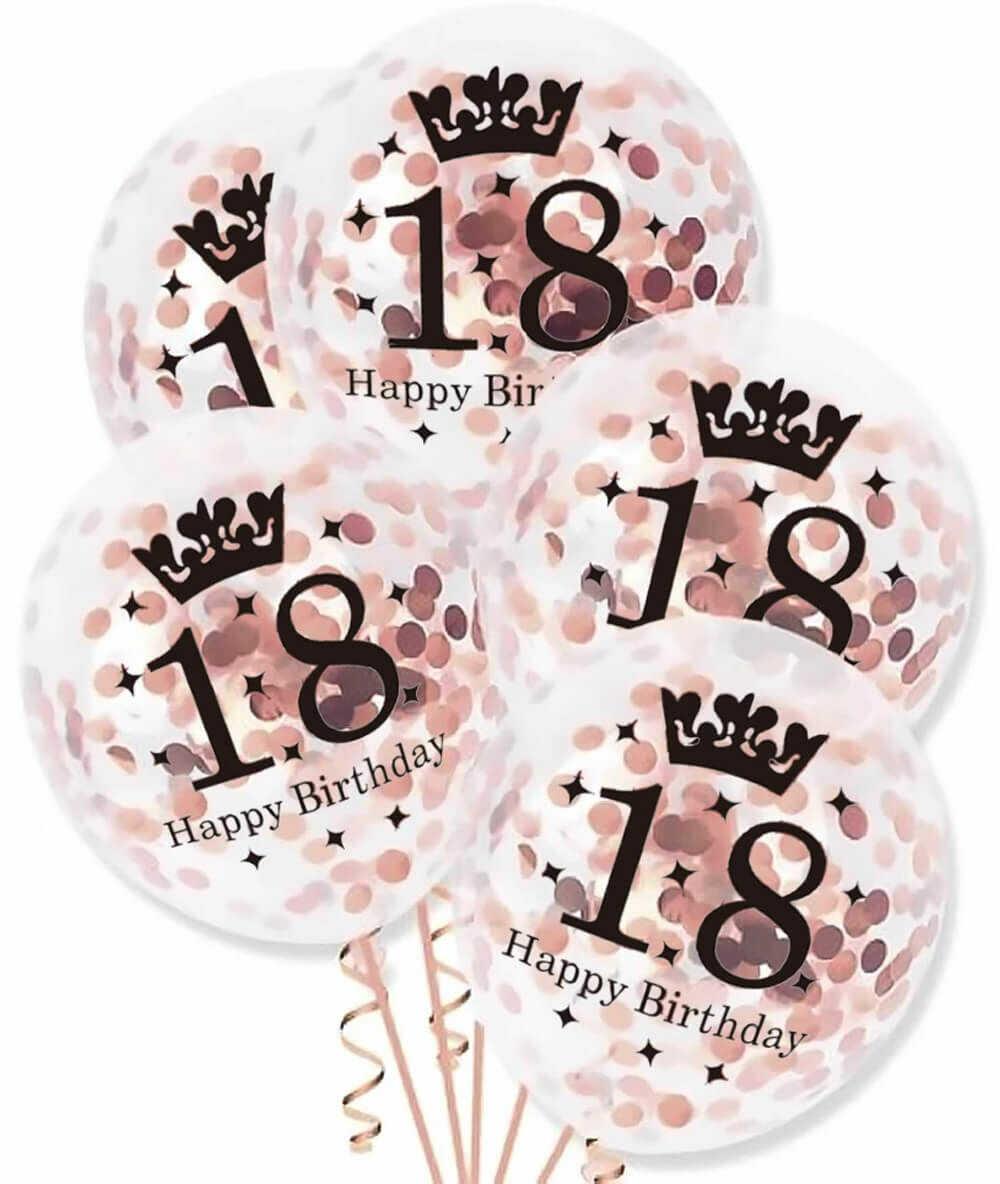 Balony przezroczyste z różowo złotym konfetti na osiemnastkę - 30 cm - 5 szt