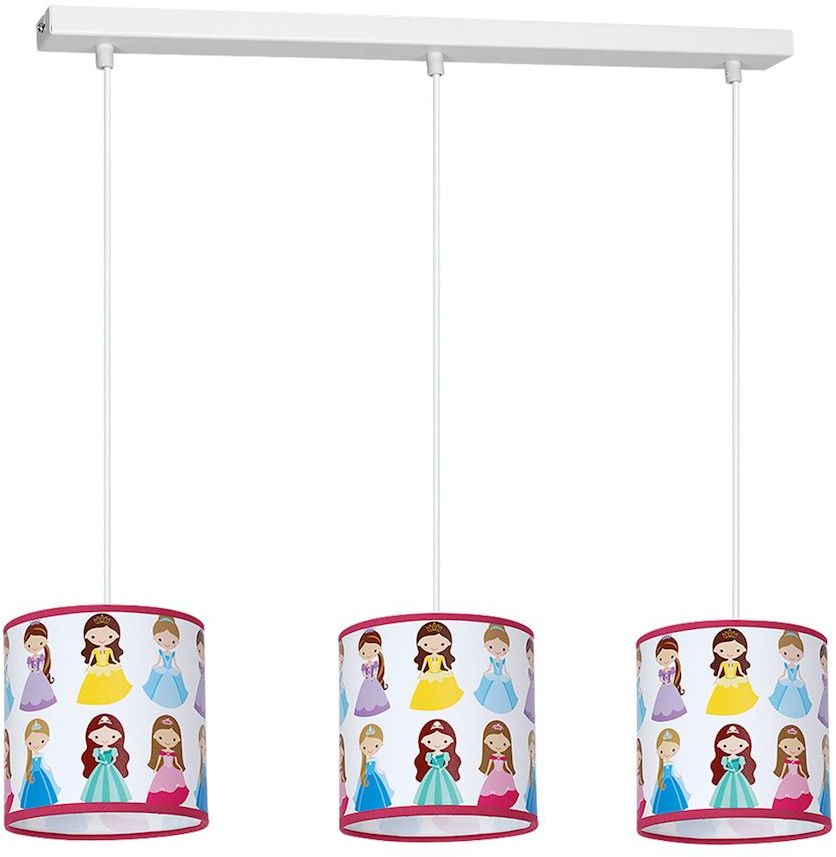 Milagro PRINCESS MLP4307 lampa wisząca dziecięca wielokolorowy klosz księżniczki regulacja wysokości zwisu 3xE27 65cm
