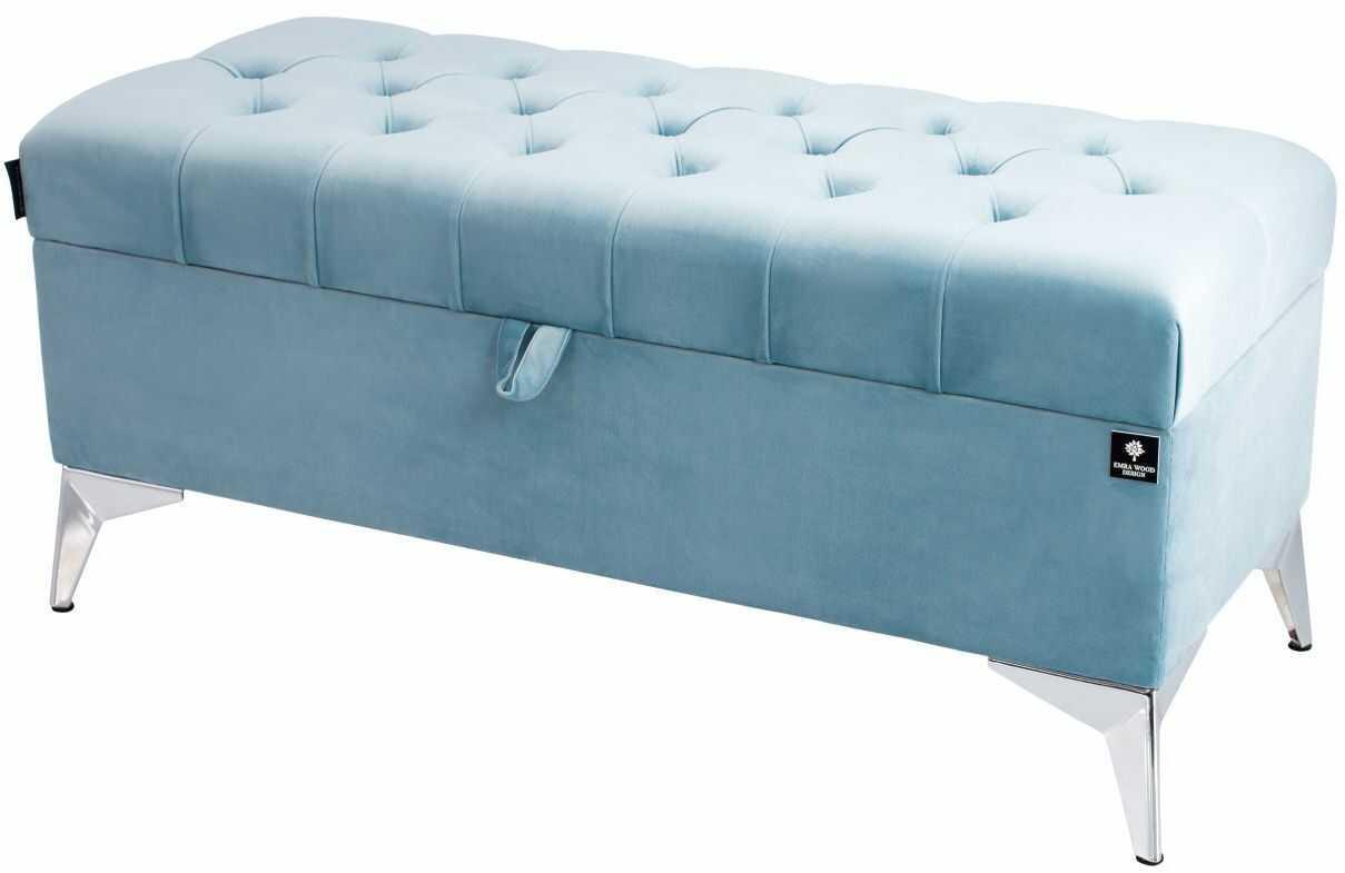 Kufer Pikowany CHESTERFIELD Jasny Błękit / Model Q-2 Rozmiary od 50 cm do 200 cm