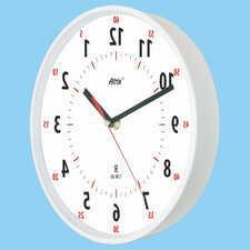 Zegar chodzący wstecz biały lustrzany