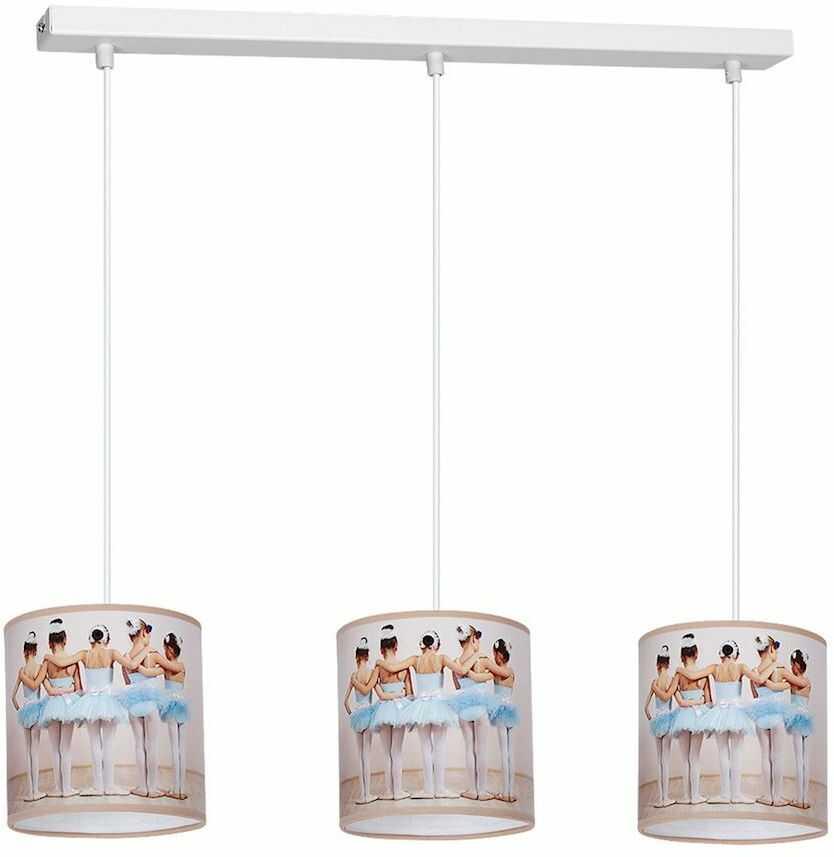Milagro BALLERINA MLP4312 lampa wisząca dziecięca wielokolorowy klosz baletnica regulacja wysokości zwisu 3xE27 65cm