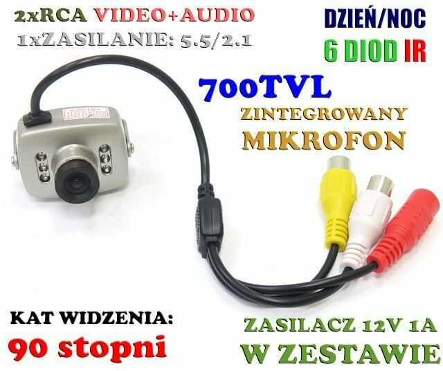 Mini-Kamera Przewodowa (dzienno-nocna), Kolorowa z Fonią + Montaż + Zasilacz Sieciowy.