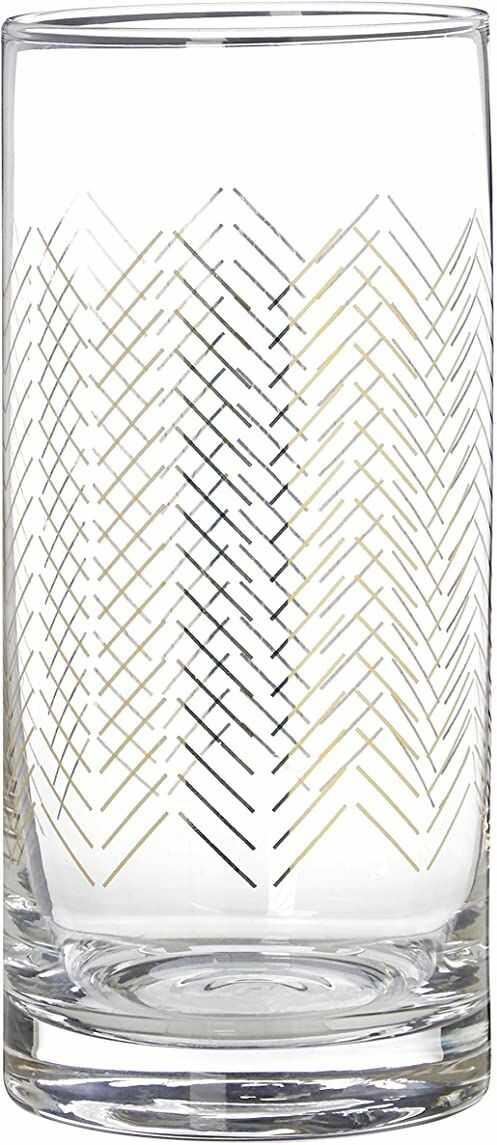 Premier Housewares okulary jazzowe highball, złoty, 7 x 7 x 15 cm, zestaw 4 szt.