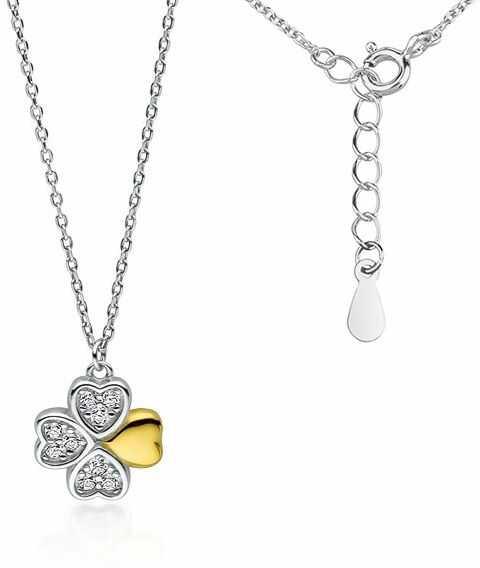 Rodowany srebrny naszyjnik gwiazd celebrytka koniczynka lucky białe cyrkonie srebro 925 Z1725NGR