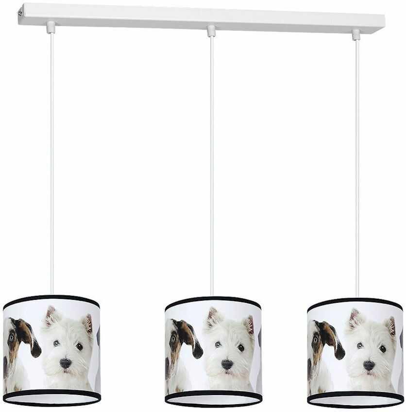 Milagro PUPPIES MLP4287 lampa wisząca dziecięca wielokolorowy klosz pieski regulacja wysokości 3xE27 65cm
