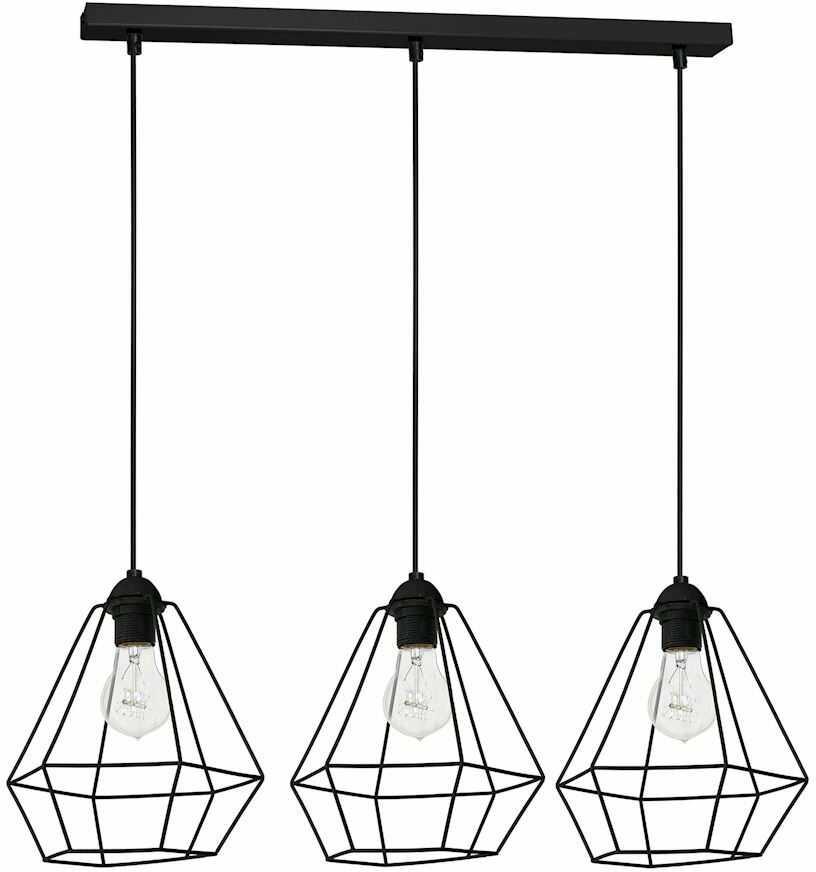 Milagro ALMA BLACK MLP8968 lampa wisząca przestrzenny metalowy klosz o geometrycznym kształcie 3xE27 60cm