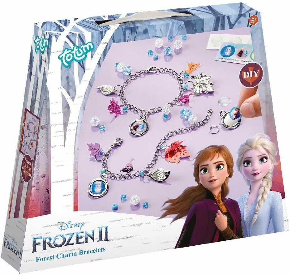 Zestaw bransoletek z zawieszkami Disney Frozen II: zrób sobie własne bransoletki z łańcuszkiem z zawieszką ze srebrnymi listkami, pięknymi perłami i naklejkami od Anny i Elsy