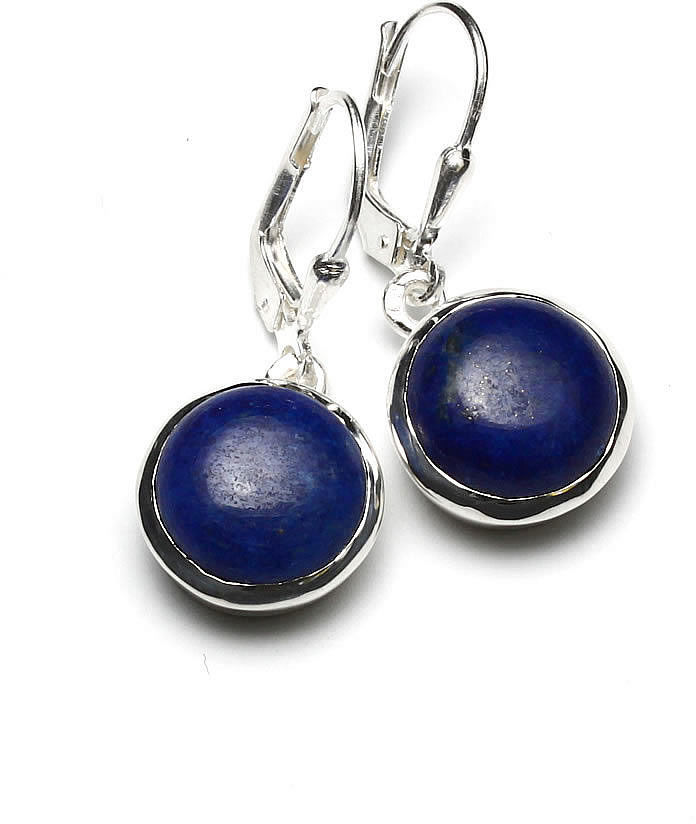 Kuźnia Srebra - Kolczyki srebrne, 30mm, Lapis Lazuli, 6g, model