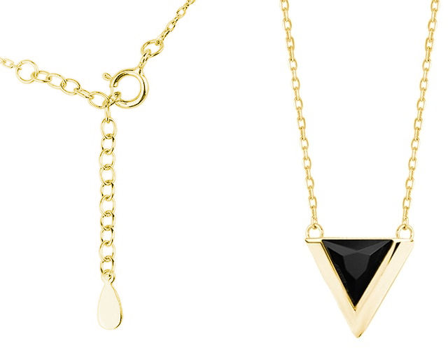 Pozłacany srebrny naszyjnik gwiazd celebrytka trójkąt triangle czarna cyrkonia srebro 925 Z1684N_G