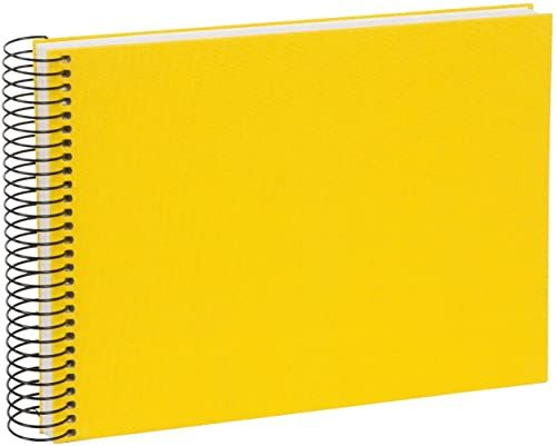 goldbuch Album spiralny Bella Vista, album pamiątkowy, z lnu ze spiralą, album fotograficzny z 40 białymi stronami, album fotograficzny do wklejania, album na zdjęcia, żółty, ok. 24 x 17 x 2,8 cm
