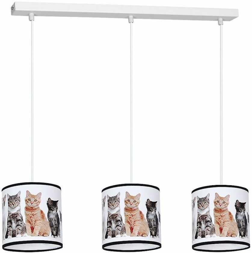 Milagro CATS MLP4282 lampa wisząca dziecięca wielokolorowy klosz koty regulacja wysokości zwisu 3xE27 65cm