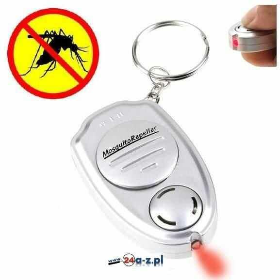 Przenośny Odstraszacz na Komary (bateryjny) w Formie Breloczka + Latarka LED.