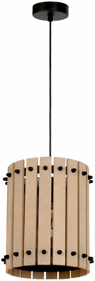 Milagro EGON MLP3827 lampa wisząca naturalne drewno drewniane listewki tworzą otoczkę oprawy metalowe elementy spinają wszystko w całość 1xE27 17cm