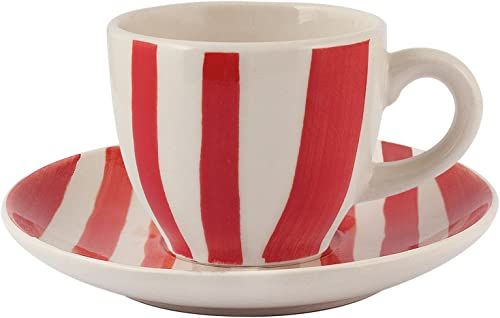 H&H Vela zestaw filiżanek do kawy z talerzem, kamionka, czerwony/kość słoniowa, 100 ml, 6 sztuk
