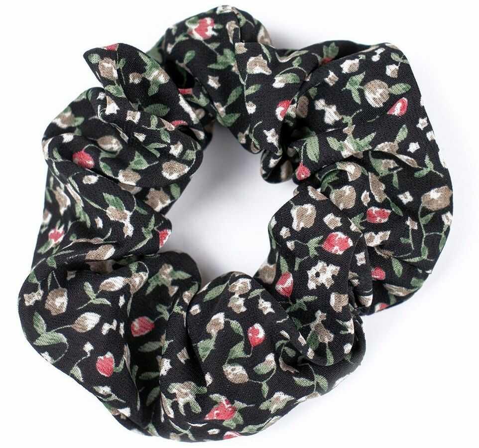 Gumka do włosów scrunchies czarna kwiaty frotka
