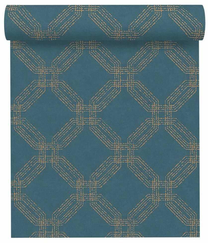 Tapeta ze wzorem geometrycznym turkusowa winylowa na flizelinie