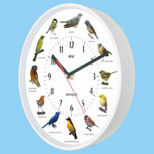Zegar z głosami ptaków plastik biały #1