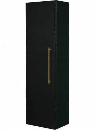 Regał łazienkowy czarny 45x155cm, Złoty uchwyt, Styl Glamour, Gante Negra