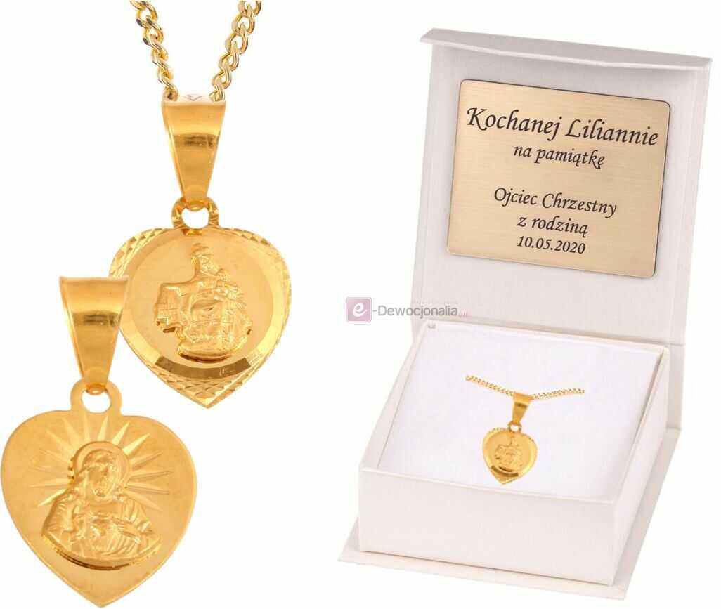 MB Szkaplerzna Serce Jezusa ZŁOTY ZESTAW medalik dwustronny łańcuszek pr. 585 DEDYKACJA - Pamiątka Prezent