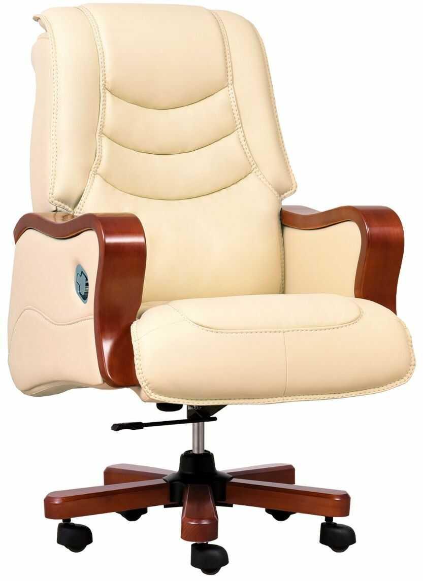 Fotel skórzany PRESIDENT kremowy