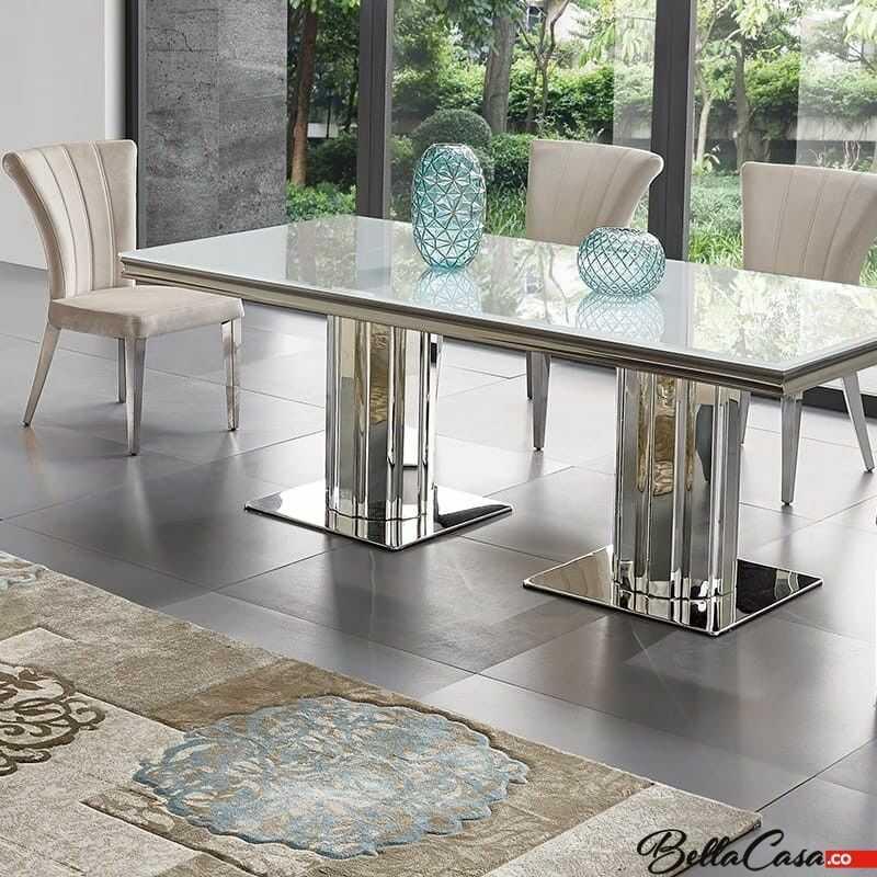 Stół glamour Retford II - stal szlachetna blat szklany nowoczesny