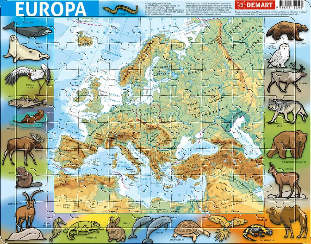 PUZZLE RAMKOWE EUROPA FIZYCZNA