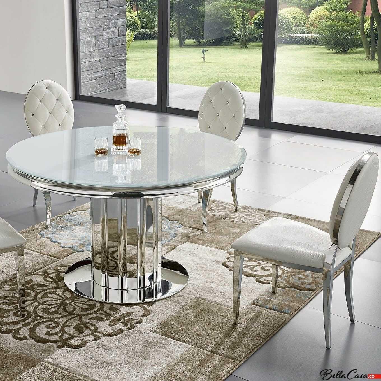Stół glamour Retford II okrągły - stal szlachetna blat szklany nowoczesny