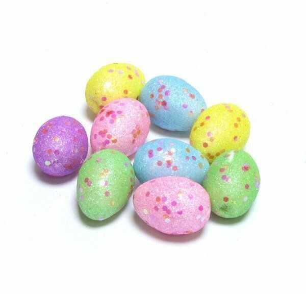 Jajka brokatowe kolorowe na Wielkanoc 4cm 9 sztuk YP3289