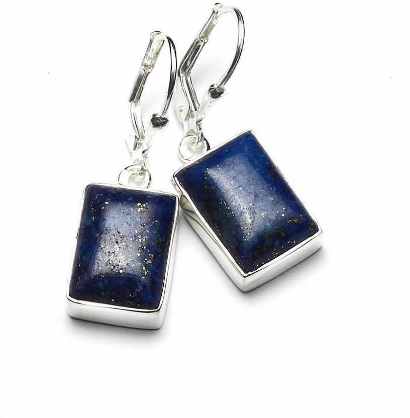 Kuźnia Srebra - Kolczyki srebrne, 33mm, Lapis Lazuli, 8g, model