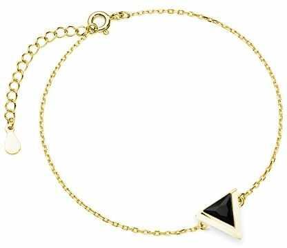 Delikatna pozłacana srebrna bransoletka gwiazd celebrytka trójkąt triangle czarna cyrkonia srebro 925 Z1684B_G