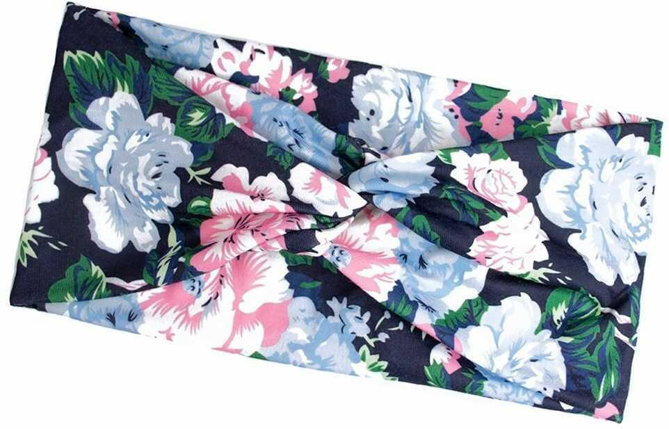 Opaska do włosów szeroka elastyczna kwiaty turban