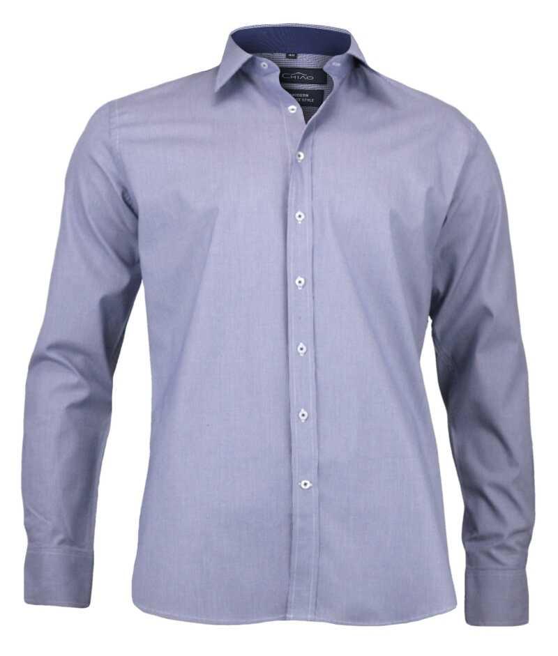 Taliowana Koszula Męska, Drobna Kratka, 100% BAWEŁNA, Niebiesko-Fioletowa KSDWCHIAOM2C02