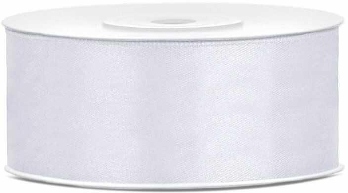 Tasiemka satynowa 25mm biała 25m 1szt. TS25-008