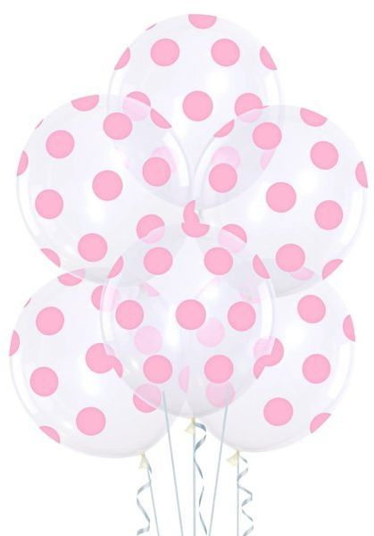 Balony przezroczyste w różowe kropki 6 sztuk 400588-6x