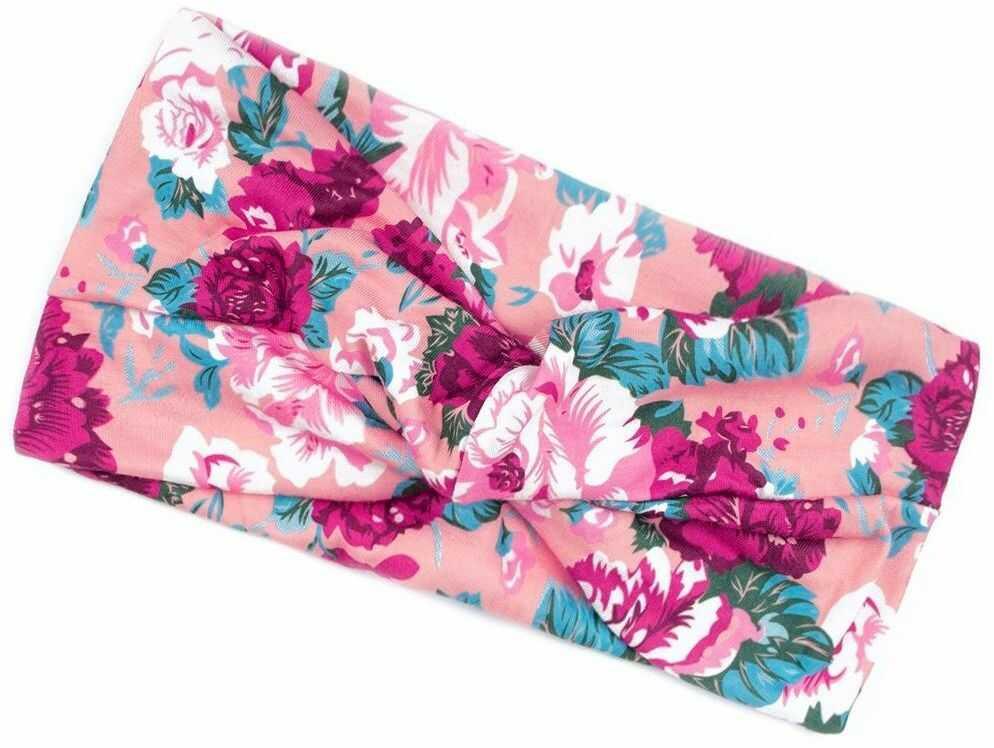 Opaska do włosów szeroka turban kwiaty bandamka