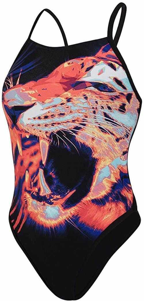 Speedo Damskie majtki do pływania Junglebeast Placement Ribbonback 1 Piece wielokolorowa czarny/mango/świecący zielony/elektryczny różowy/biały 26