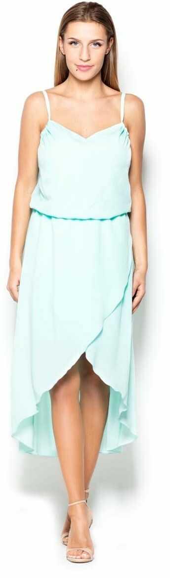 Miętowa sukienka midi z zakładanym dołem na ramiączkach