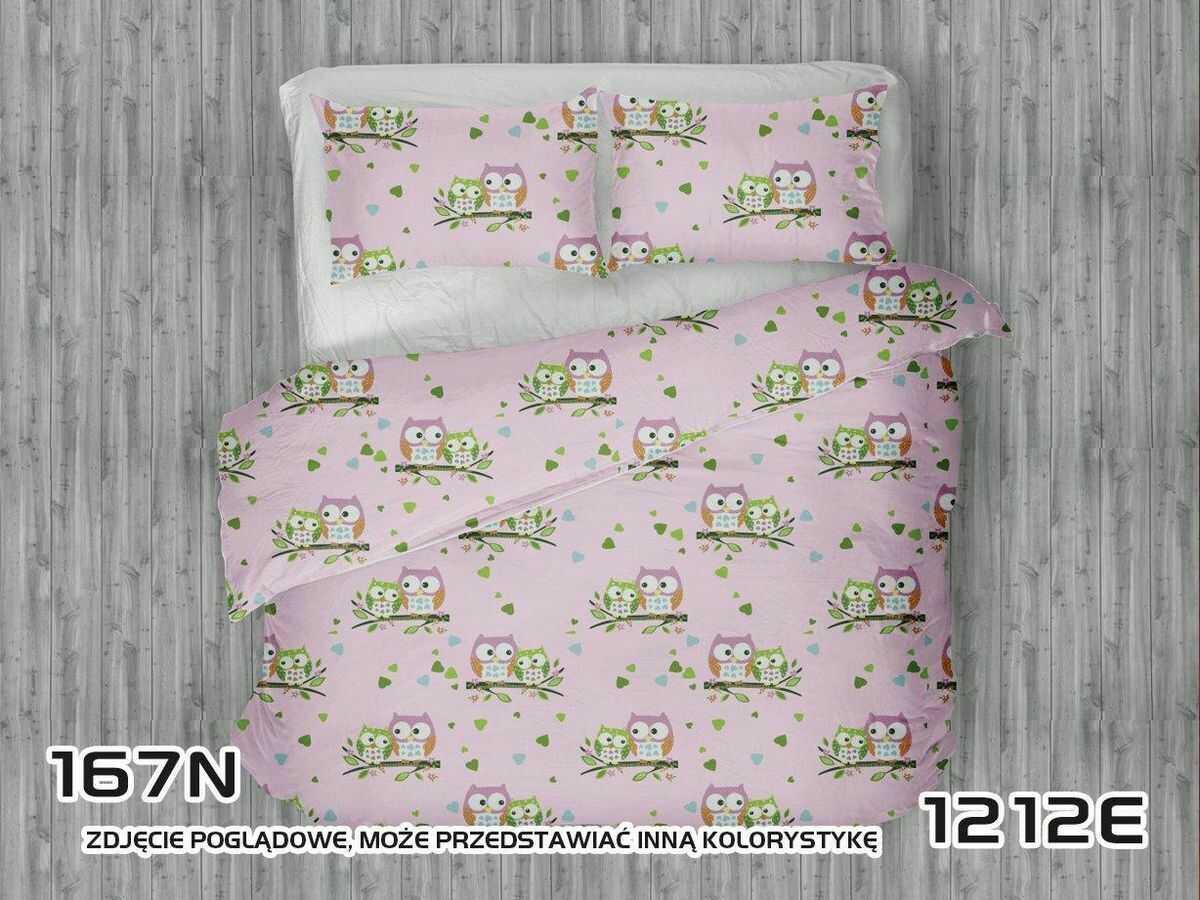 Pościel bawełniana 200x220 1212E Sowy Sówki Serduszka zielone Gałązka różowa
