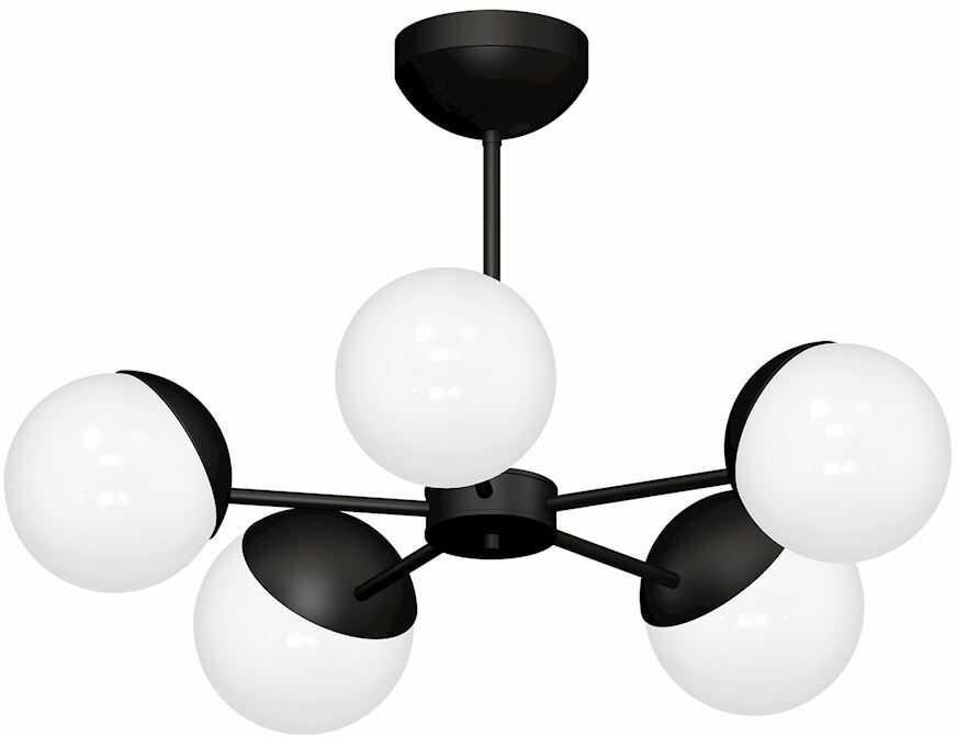 Milagro SFERA BLACK MLP8866 żyrandol metalowy czarny klosze kule szkło 5xE14 60cm