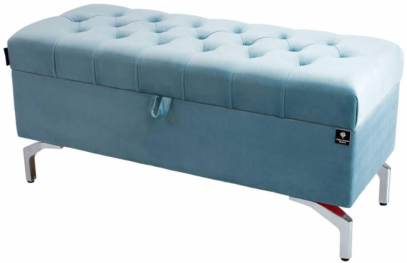 Kufer Pikowany CHESTERFIELD Jasny Błękit / Model Q-3 Rozmiary od 50 cm do 200 cm